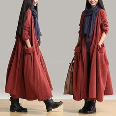 Wear fall clothes autumn Rust red, Always give people a pleasure Overall presentation gives the impression, There are fresh and elegant style