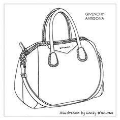 GIVENCHY - ANTIGONA BAG - Designer Handbag Illustration / Sketch / Drawing / CAD / Borsa Disegno