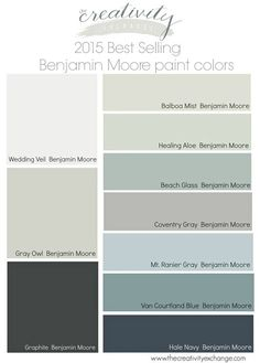 2015 best selling Benjamin Moore paint colors. Examples of rooms painted in these colors on link. The Creativity Exchange