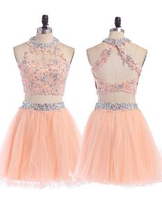 Sweet A-Line Halter Top Short Prom Dresses,Two Pieces Beading Mini Tulle Homecoming Dresses