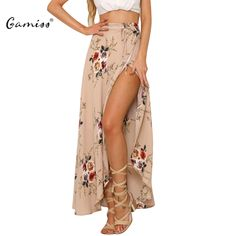Gamiss Sexy Side Split Floral Print Long Chiffon Skirt 2017 New Women Summer Beach Maxi Skirt Boho High Waist Asymmetrical Skirt