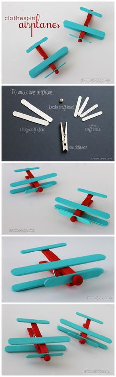 Cute DIY airplane ornaments: made with clothes pins and popsicle sticks.