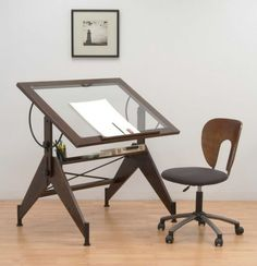 Glass Drafting Table With Chairs