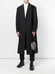 Oamc distressed tartan patch coat