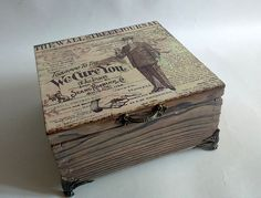 Wood burned tea box [decoupage]
