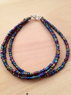 Dainty multi strand seed bead bracelet with by gingerfringe oil slick seed bead bracelet