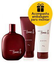 Presente Natura Humor 2 - Desodorante Colônia + Gel para Barbear + Gel após Barba + Embalagem Desmontada