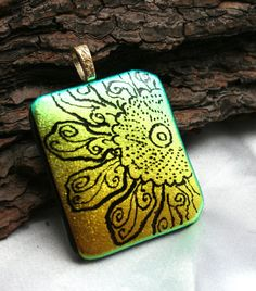 Sunflower Etched Fused Glass Dichroic Pendant by hbjewelrydesign