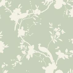 Sage Green - 422808 - Chinoise - Shadow - Floral - Bird - Arthouse Opera Wallpaper