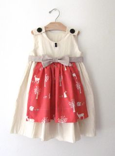 Girls Woodland Apron Dress with Linen Bow and Sash - Birthday Dress Dresses For Teens, Little Girl Dresses, Trendy Dresses, Nice Dresses, Girls Dresses, Geranium Dress Pattern, Apron Dress, Sewing Clothes, Kids Wear