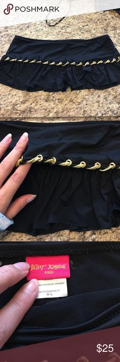 Betsey johnson black swim cover up skirt **matching bottoms on another listing of mine **  Betsey johnson Black swim cover up.  skirt w gold trim great for over a swim to run around Betsey Johnson Swim Coverups