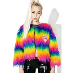 Isolated Heroes Rainbow Faux Fur Mini Coat ($165) ❤ liked on Polyvore featuring outerwear, coats, colorful coat, cropped coat, pink faux fur coat, pink coat and multi colored coat