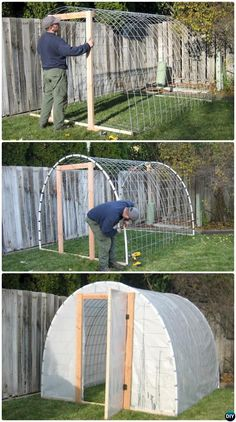 70 cool and unique DIY garden art ideas for attractive garden - colleen dahlin - diy 18 DIY Green House Projects Picture InstructionsDIY Wire Cattle Panel Greenhouse Free DIY Green House Projects Instructions Greenhouse, Build A Greenhouse, Greenhouse Gardening, Container Gardening, Greenhouse Ideas, Greenhouse House, Greenhouse Wedding, Cheap Greenhouse, Diy Small Greenhouse, Homemade Greenhouse
