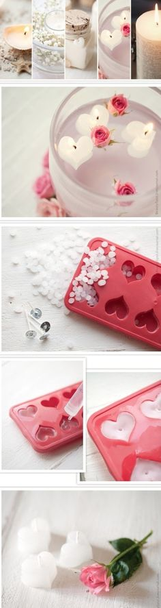 Use silicone ice cube trays to make mini tea light candles