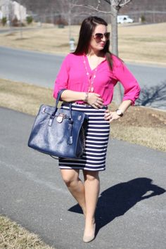 Pink top, Old Navy Striped Skirt, Nude Pumps