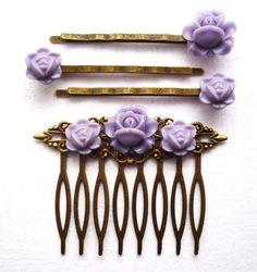 Esküvő hajdísz, levedula lila fésű, vintage bronz, virágos, Kiegészítő, Hajbavaló, hajcsat, #Meska