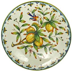 Ceramic Majolica Plate Tuscany Amalfi Lemon