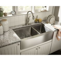 Exceptional Kitchen Remodeling Choosing a New Kitchen Sink Ideas. Marvelous Kitchen Remodeling Choosing a New Kitchen Sink Ideas. Stainless Steel Farmhouse Sink, Farmhouse Sink Kitchen, Country Kitchen, New Kitchen, Kitchen Decor, Kitchen Ideas, Modern Farmhouse, Double Farmhouse Sink, Best Kitchen Sinks