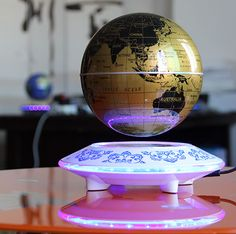 how to make the magic magnetic floating globe float, Funny C Shape Magnetic Levitation Floating Globe World Map with Colored LED Light Floating Globe, Magnetic Levitation, Levitation Photography, Room Ideas, Led