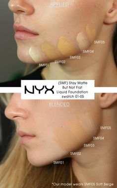 Swatches on the jaw line of our model using SMF - Stay Matte But Not Flat Liquid Foundation. Our model wears SMF05. Get yours here: http://www.nyxcosmeticsstore.co.uk/acatalog/SMF---Stay-Matte-Liquid-Foundation.html