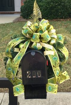 Christmas Mailbox Swag ~ Holiday Mailbox Topper ~ Peacock Theme Christmas Decor ~ Holiday Decorations ~ Lime Black and Turquoise Swag ~