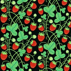 strawberries - black fabric by mirabelleprint on Spoonflower - custom fabric