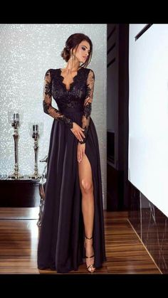 A-Line Long Sleeves Lace Chiffon Long Prom Dress Formal Evening Dresses 601462 Evening Gowns With Sleeves, Evening Dresses With Sleeves, Prom Dresses Long With Sleeves, Evening Party Gowns, Cheap Evening Dresses, Lace Dress With Sleeves, Long Prom Dresses Uk, Formal Dresses Online, Elegant Prom Dresses