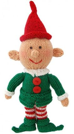 "Happy Little Elf - Free Christmas Knitting Pattern Designed by Michele Wilcox FINISHED MEASUREMENTS Height: 16½"" MATERIALS Universal Yarn Uptown Worsted (100% anti-pilling acrylic; 100g/180 yds) • 329 Kelly Green (MC) – 1 ball • 302 White Glow (CC1) – 1 ball • 312 Race Car Red (CC2) – 1 ball • 335 Acorn (CC3) – 1 ball Needles: US Size 6 (4 mm) 32"" circular Notions: Tapestry needle, waste yarn or stitch holder, polyester fiberfill for stuffing, two ¼"" black buttons (for eyes), two 3"" buttons…"