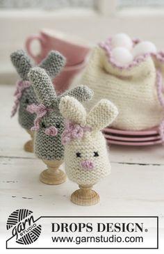 Easter bunny egg warmer and egg basket by Drops Design. Find the free easter knitting pattern here: link Easter Crochet Patterns, Crochet Blanket Patterns, Knitting Patterns Free, Free Knitting, Free Crochet, Free Pattern, Start Knitting, Pattern Ideas, Drops Design