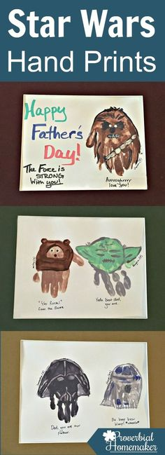 Looking for a great Father's Day gift idea or just a bit of fun for your Star Wars loving kid? Check out these Star Wars hand print ideas! Great gift for dads - Father's Day, birthdays, Star Wars Christmas and Fathers Day Crafts, Happy Fathers Day, Manualidades Star Wars, Party Activities, Activities For Kids, Baby Crafts, Crafts For Kids, Star Wars Art Projects For Kids, Cadeau Star Wars