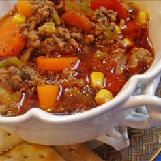 Hearty Hamburger Soup - Ingredients 2 lbs lean ground beef 1 white onion peeled and diced teaspoon ground black pepper more to taste teaspoon dry oregano more to taste teaspoon dry basil more to taste teaspoon seasoning salt 1 ( Beef Recipes, Cooking Recipes, Healthy Recipes, Easy Recipes, Family Recipes, Recipies, Cookbook Recipes, Delicious Recipes, Soup And Sandwich