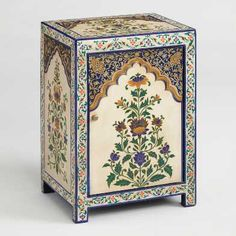 arch-adorned, blue-hued cabinet from India takes its inspiration from the ornate floral motifs of Mughal paintings. Each piece, which includes a door in front and a shelf inside, takes a full week to craft and paint by hand. Bedside Storage, Bedside Cabinet, Nightstand, Accent Furniture, Painted Furniture, Bedroom Furniture, Outdoor Furniture, Cabinet Furniture, Kitchen Furniture