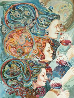 'Red wine' watercolour by Gilly Marklew Buy as a greetings card from green pebble publishers http://www.greenpebble.co.uk