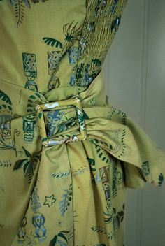 8d1423f13a8b 1950's Alfred Shaheen Hawaiian Sage-Green Wiggle Sarong Dress In Excellent  Condition For Sale In