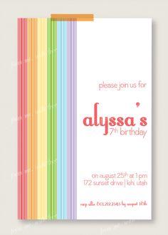5x7 Rainbow Paint Stroke Colorful Invitation for Birthday/Shower/Gender Reveal Digital/PDF/Printable/JPEG e-file. $12.00, via Etsy.