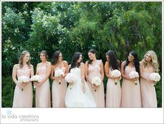 Penny + Ben: Real wedding. That is beautiful wedding party! Brides dress by Vera Wang. Flowers by Flora Glamour and photo by La Vida Creations. Reception: Estancia la Jolla.