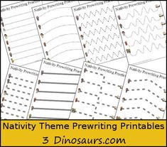 Free Nativity Theme Prewriting Printable - 2 different types solid and dashed - 3Dinosaurs.com