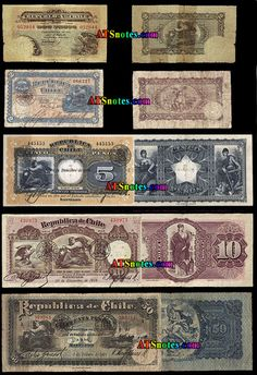 Chile banknotes - Chile paper money catalog and Chilean currency history Paypal Money Adder 2017, Bank Account Balance, Money Paper, Money Worksheets, Chile, Catalog, Retro, World, Poster
