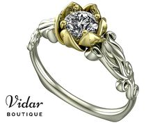 Flower Engagement Ring, Unique Engagement Ring, Two Tone Gold Ring By Vidar Botique, Yellow Gold Engagement Ring, Leaves Ring, Vintage Ring, Unique Two Tone Gold Engagement Ring, Unique Diamond Engagement Ring