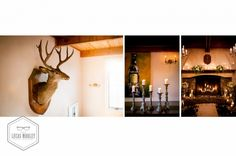 Taxidermy candles and a wood fire at DeLille cellars for Gena and Alex's rustic winter wedding.