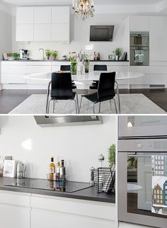 Love this simple style. Kitchen Paint, Ikea Kitchen, Kitchen Storage, Kitchen Dining, Kitchen Decor, Flat Interior, Apartment Interior, Kitchen Interior, Interior Design Living Room
