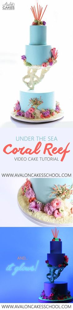 Under the Sea Coral Reef Wedding Cake Tutorial. Gravity defying floating tier with coral (no fancy molds needed!)! AND, when it's time to hit the dance floor, turn on the black light and it glows! Full tutorial at www.avaloncakesschool.com