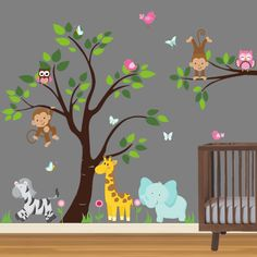 Jungle Animals Tree and Branch Wall Decal - Traditional - Repositionable Fabric Decal - Cute Safari set with Zebra, Giraffe, Elephant, Monkeys, Owls, Butterflies, and Flowers.