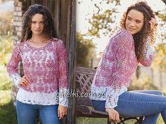 CrocheT Top Tunic  Ажурная двухцветная кофточка крючком. Описание, схема вязания