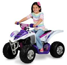 Yamaha Girls Raptor 12V Powered Ride-On - New For 2013!. Drives on multiple surfaces; Speeds: Two speeds plus reverse; Maximum Speed: 5 mph. Durable construction with steering wheel column; Yamaha Raptor ATV ride-on boasts authentic Raptor design. Raptor sound controls; Signature race graphics; Wheels: MotionTrendz tires for extra traction. Requires 12-volt battery and charger (included); Battery requires 14 hours to recharge completely; Battery delivers 1 to 3 hours of continuous use per...