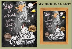 Life if what you bake it, recipe art, kitchen art, black board recipes, kitchen décor, chef gift, grandmother gift, mother gift, art print