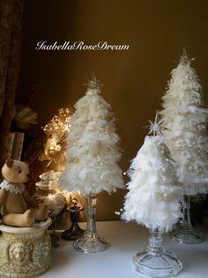 Christmas tree shabby chic tree Christmas decor off white