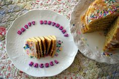 """BIRTHDAY PANCAKES: Mix a box of Funfetti Cake Mix according to the box directions, ladle the batter onto a skillet greased with butter and cook as you would regular pancake batter.  Stack the pancakes on a cake plate and drizzle with a mixture of funfetti frosting diluted with milk.  Arrange """"Happy Birthday"""" store-bought letters onto the top or a serving plate, add candles and done!"""