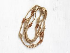 Boho chic necklace Crochet jewelry Natural linen and glass beads Long beaded necklace Bohemian Rustic Winter fashion