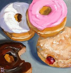 Who Took That Bite? 8x8 Inch Oil Painting of Donuts by Kelley MacDonald